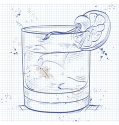 Old fashioned cocktail on a notebook page vector