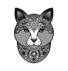 Ornamental black cat vector