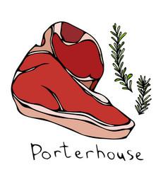 porterhouse steak cut isolated on white vector image vector image
