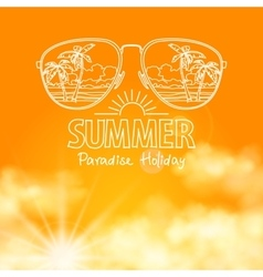 Reflection of the beach in sunglasses sunny orange vector image vector image