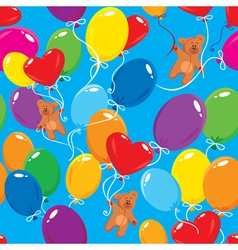 Seamless pattern with colorful balloons and teddy vector image
