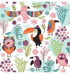 seamless pattern with exotic birds vector image