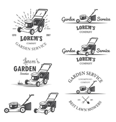 Set of vintage garden service emblems vector