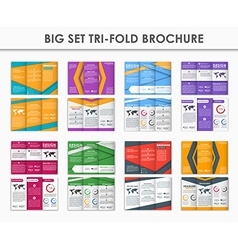Set triple folding brochures in the style of the vector