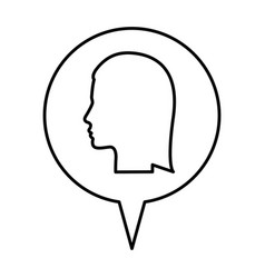 silhouette relief circular speech with silhouette vector image vector image