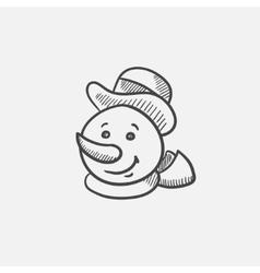 Snowman head sketch icon vector image vector image