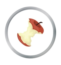 Stub of apple icon in cartoon style isolated on vector