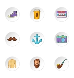 Subculture hipster icons set cartoon style vector