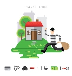 Theft insurance colourful flat vector