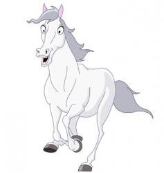 white horse running vector image