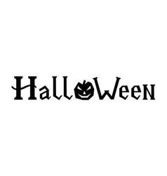 word halloween with pumpkin vector image vector image