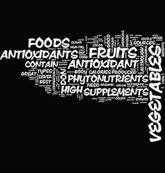 Your body and antioxidant foods text background vector