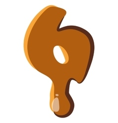 Number 6 from caramel icon vector