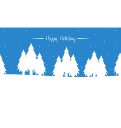Tree winter christmas landscape of silhouettes vector