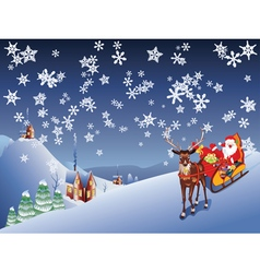 Santa riding christmas sleigh at night vector