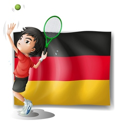 A boy playing tennis in front of a flag vector