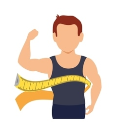 Body male with tape measure vector