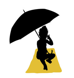 Child with umbrella and towel silhouette vector