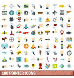 100 pointer icons set flat style vector