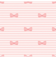 Seamless pattern bows on pink strips background vector image