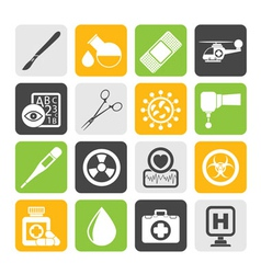 Silhouette Medicine and hospital equipment icons vector image