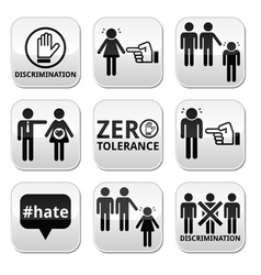 Stop discrimination of men and women buttons set vector image
