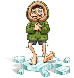 A boy getting a cold feet vector