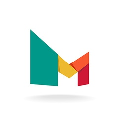 Letter m logo template origami colorful style vector
