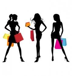 shopping woman vector image