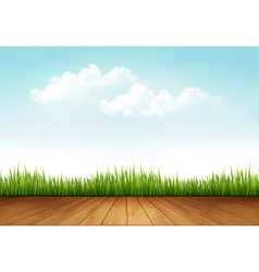Nature background with a wooden deck vector