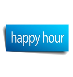 Happy hour blue paper sign on white background vector