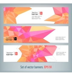 Internet banners set with polygonal abstract back vector