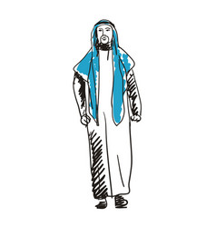 Arabian man in national dress hand drawn icon vector