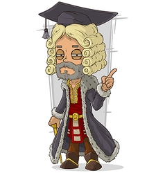 Cartoon old rich medieval blond judge vector