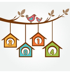 Creative new year2014 with birds sit on branch vector image vector image