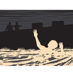 Drowning man vector image vector image