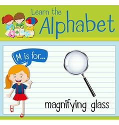 Flashcard letter m is for magnifying glass vector