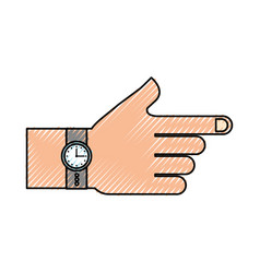 hand with watch time accessory fashion vector image