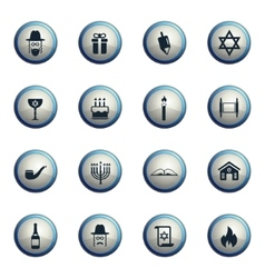 Hanukkah simply icons vector