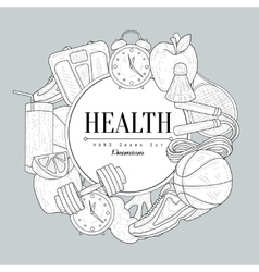 Healthy lifestyle vintage sketch vector