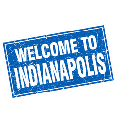 Indianapolis blue square grunge welcome to stamp vector