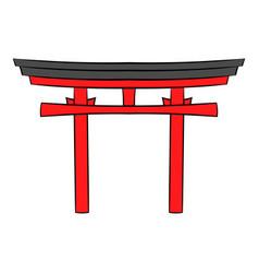 japan gate icon cartoon vector image