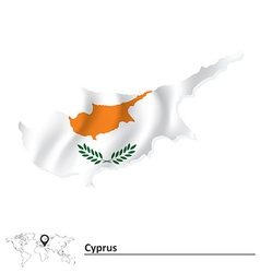 Map of Cyprus with flag vector image vector image