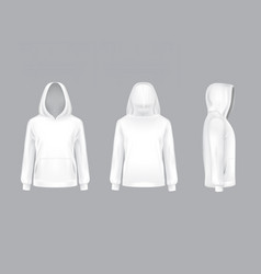 mockup with realistic white hoodie vector image vector image