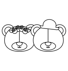 Monochrome contour with faces couple of bears vector