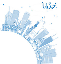 outline usa skyline with blue skyscrapers vector image