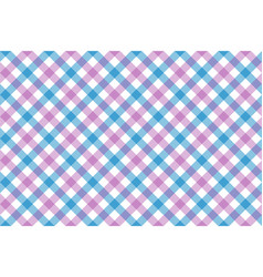 pink blue check diagonal fabric texture vector image