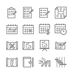 plan and schedule icon set vector image