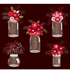 Red Flowers In Jars vector image