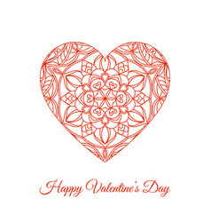 Red fretwork floral heart happy valentines vector